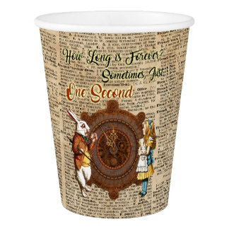 Alice & White Rabbit Vintage Dictionary Art Quote Paper Cup