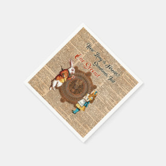 Alice & White Rabbit Vintage Dictionary Art Quote Paper Napkins