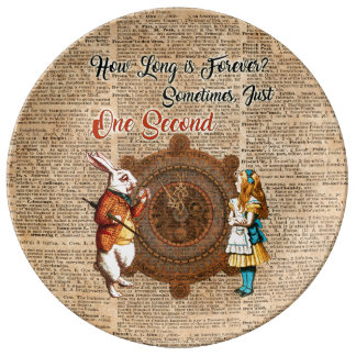 Alice & White Rabbit Vintage Dictionary Art Quote Plate