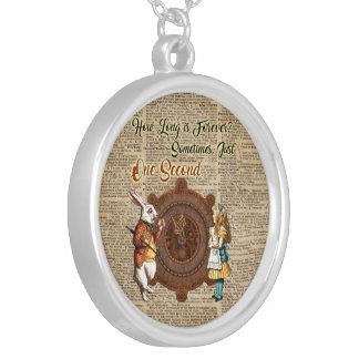 Alice & White Rabbit Vintage Dictionary Art Quote Silver Plated Necklace
