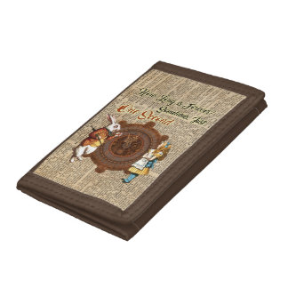 Alice & White Rabbit Vintage Dictionary Art Quote Trifold Wallet