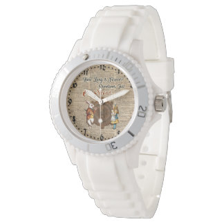 Alice & White Rabbit Vintage Dictionary Art Quote Watch