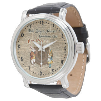 Alice & White Rabbit Vintage Dictionary Art Quote Watches