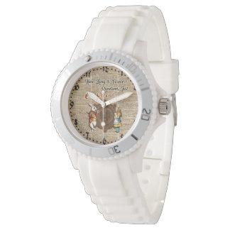 Alice & White Rabbit Vintage Dictionary Art Quote Wrist Watch