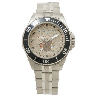 Alice & White Rabbit Vintage Dictionary Art Quote Wristwatch