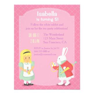 Alice White Rabbit Wonderland Birthday Party Invites