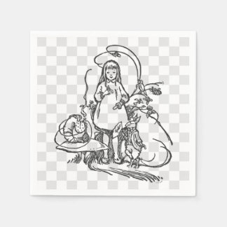 Alice with Caterpillar and White Rabbit Paper Napkin