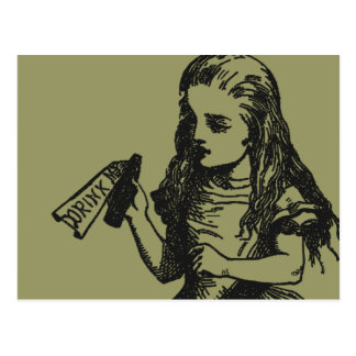 """Alice with """"Drink Me"""" Bottle Postcard"""