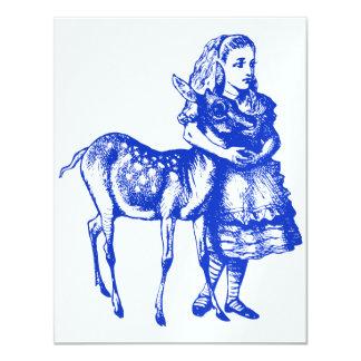 "Alice with Fawn Blue Prom Bid 4.25"" X 5.5"" Invitation Card"