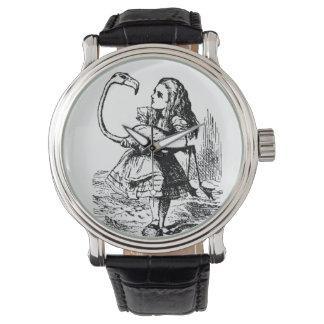 alice with flamingo watch