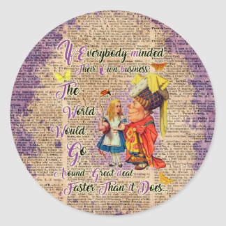 Alice with The Duchess Custom Dictionary Art Classic Round Sticker