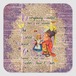Alice with The Duchess Custom Dictionary Art Square Sticker