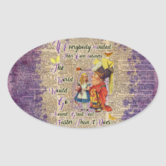 Alice with The Duchess Vintage Dictionary Art Oval Sticker