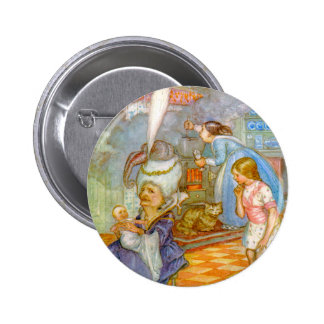 ALICEMEETS THE PIG BABY IN THE DUCHESS' KITCHEN 2 INCH ROUND BUTTON