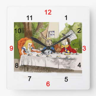 Alice's Adventures in Wonderland Square Wall Clock