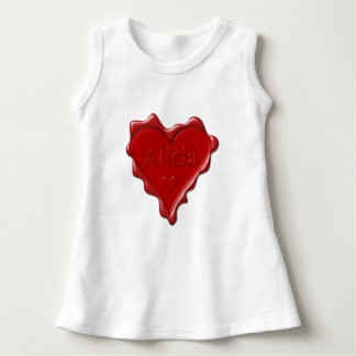 Alicia. Red heart wax seal with name Alicia Dress