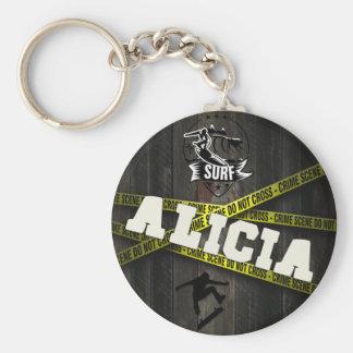 ALICIA - Skater Style Basic Round Button Keychain