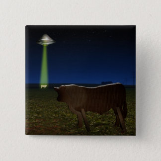 Alien Abduction of Fake Cows in the Pasture 2 Inch Square Button
