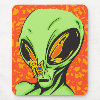 Alien and Butterfly Mouse Pad