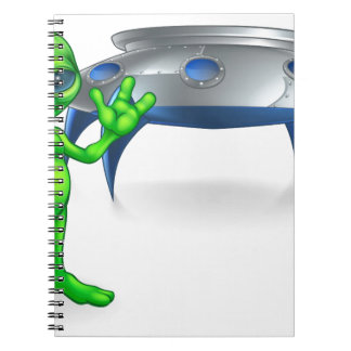 Alien and Flying Saucer Space Ship Spiral Note Book