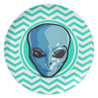 Alien Aqua Green Chevron Dinner Plates