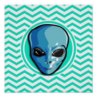 Alien Aqua Green Chevron Poster