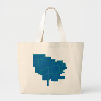 Alien art architecture squares abstract blue maze jumbo tote bag