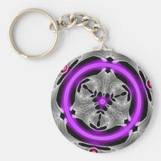 Alien Art - Purple Neon Basic Round Button Keychain