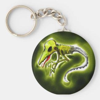 alien basic round button keychain