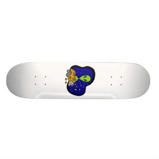 Alien behind Rocks Skateboard Deck