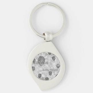 Alien Believe Silver-Colored Swirl Keychain