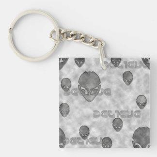 Alien Believe Single-Sided Square Acrylic Keychain