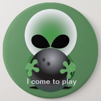 Alien bowler 6 inch round button