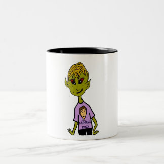 Alien Boy - Humans Rock Two-Tone Coffee Mug