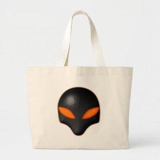 Alien Bug Face Orange Eyes Large Tote Bag