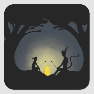 Alien Camp Fire - The Visitor Square Sticker