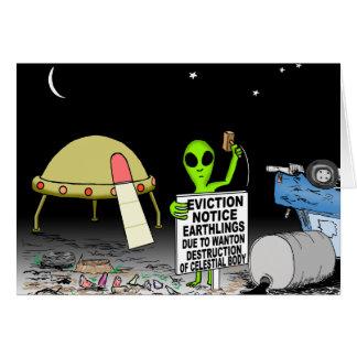 Alien Cartoon - Eviction Cartoon Card
