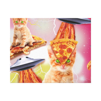 alien cats and the ufos canvas print