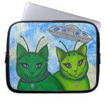 Alien Cats UFO Space Fantasy Cat Art Laptop Sleeve