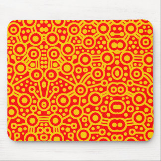 Alien Circuit II - Amber on Red Mouse Pad