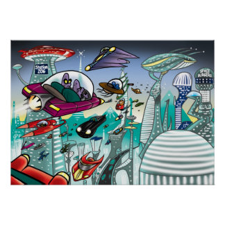 Alien Cityscape Poster