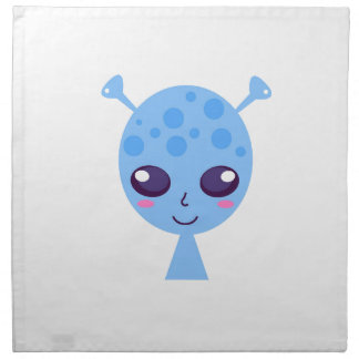 Alien cute design on blue napkin