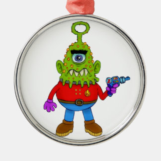 Alien Cyclops Beasty Silver-Colored Round Ornament