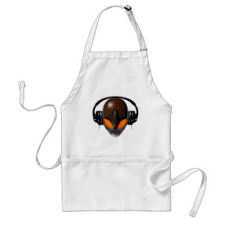 Alien DJ Music Lover  - Reptile Orange / Brown Standard Apron