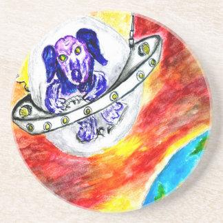 Alien Dog in Space Art Coaster