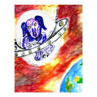 Alien Dog in Space Art Letterhead