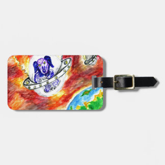 Alien Dog in Space Art Luggage Tag