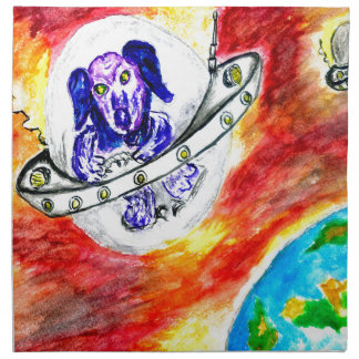 Alien Dog in Space Art Napkin