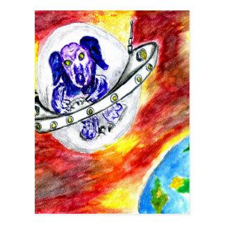 Alien Dog in Space Art Postcard