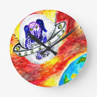 Alien Dog in Space Art Round Clock